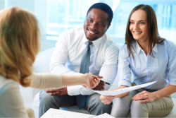 insurance professional talking to client