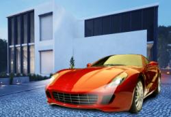 house with a car